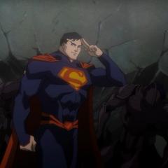 Superman saluting John Henry Irons.