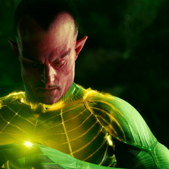 Sinestro putting on the yellow ring.