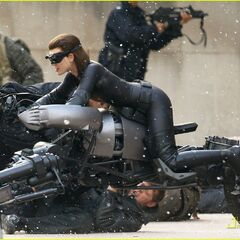 Anne Hathaway's stunt double on set as Catwoman