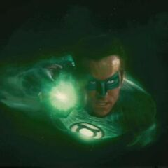 Green Lantern flying.