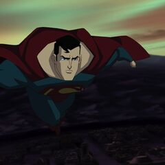 Superman, flying.