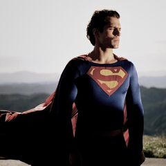 A another look at Henry Cavil in Christopher Reeve's Superman costume.