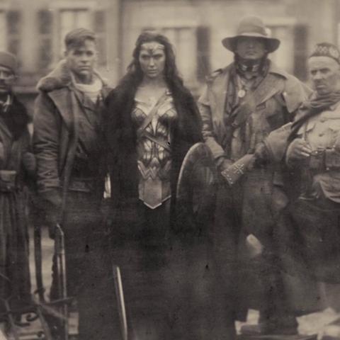 Wonder Woman, Steve Trevor, Sameer, Charlie and Chief, in 1918.