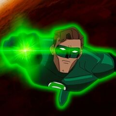 Hal Jordan flying outside a planet in <i><a href=