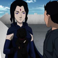 Raven shoeing Titus to Damian.