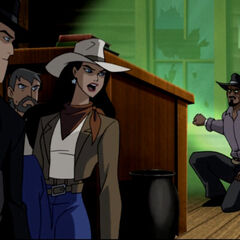 Diana, Bruce, and John disguised as cowboys.