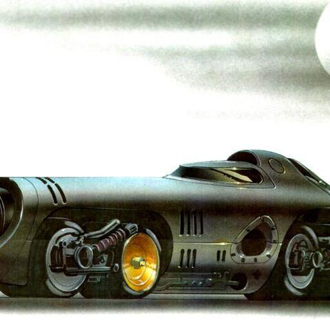 Concept art for the Batmobile in <i>Batman Returns</i>.