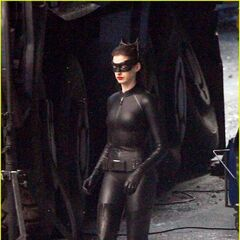 Anne Hathaway on set as Catwoman.