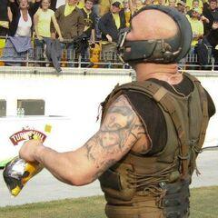 Tom Hardy as Bane, showing venom tubes.