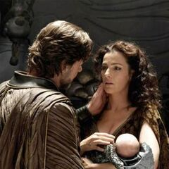 Jor-El and Lara with baby Kal-EL.