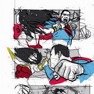 storyboard of Superman (mind controlled by Maxwell Lord) fighting Wonder Woman.