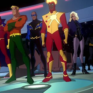 Red Tornado, Aquaman, Black Lightning, Firestorm and Black Canary arrive to help Batman.