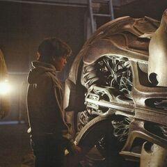 Jonathan shows Clark his spaceship.