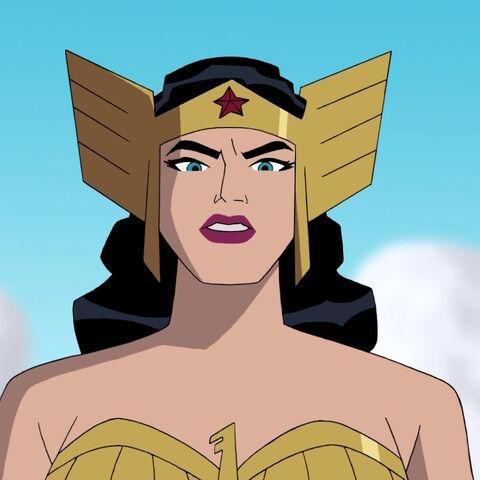 Wonder Woman prepares for battle.