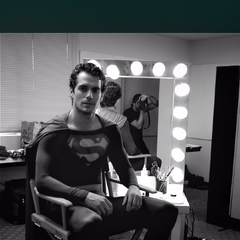 Henry Cavill in Christopher Reeve's Superman outfit in his audition.