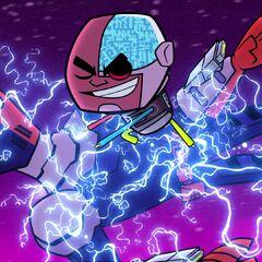 Slade gets electrocuted by Cyborg.