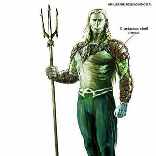 Concept art of Aquaman's design for <i>Justice League: Mortal</i>