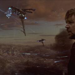 Jor-El witnessing the destruction of Krypton.