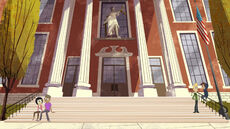 Metropolis High School entryway stairs Lady Justice S01E01