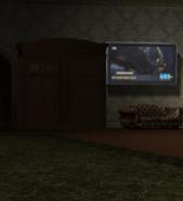 Ornate Armoire and Flatscreen - Gotham Feed (Wayne Manor Gala)