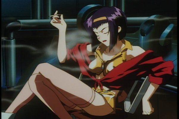 Faye Valentine from Cowboy Bebop smoking a cigarette
