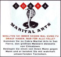 SA Cobra Martial Arts Werbung