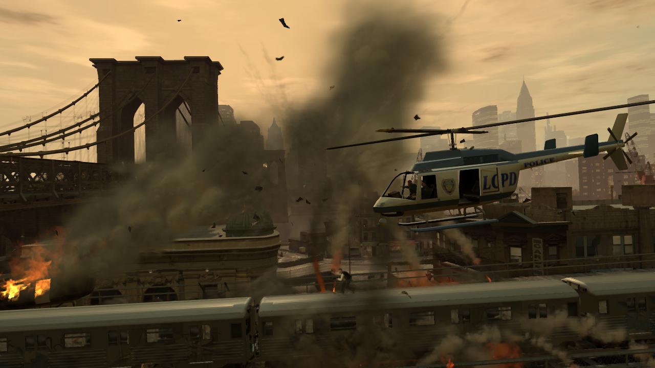 Luis Fernando Lopez Auf Der Hochbahn Wahrend Uber Ihm Ein Hubschrauber Polizei Kreist Im Hintergrund Sieht Man Die Skyline Algonquins