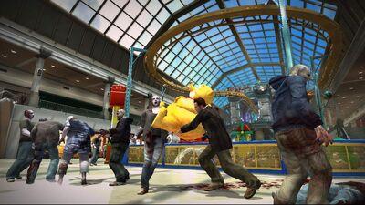 Dead-rising wonderland plaza teddy bear under roller coaster
