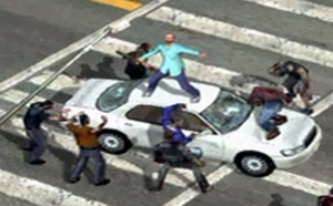 Dead rising man atop white car close up