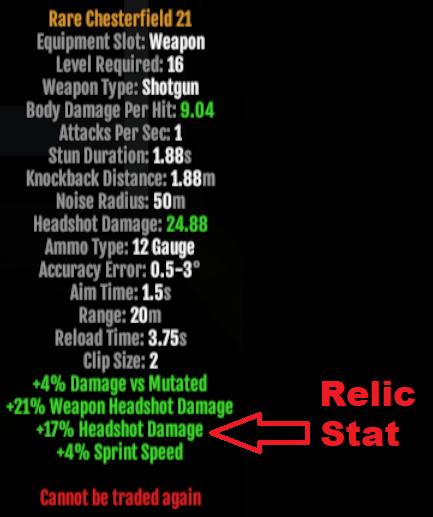 Relic Stats Rare