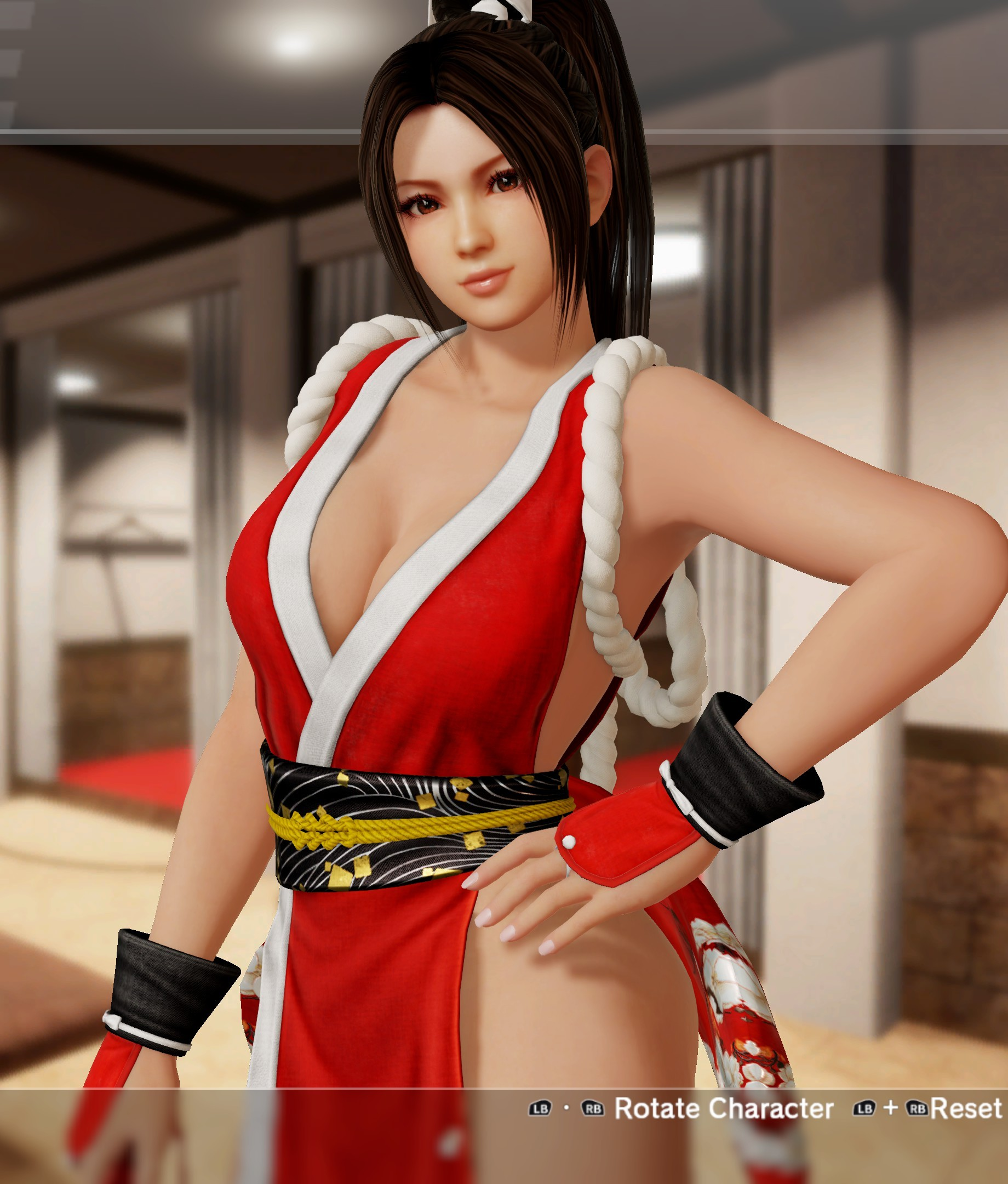 db6a135c51e1d DOA6 Mai C1, Costume 1 - Red-and-white uwagi with matching hand guards and  tabi-style boots, rope around her shoulders, and a single tassel, with  large red ...