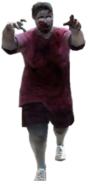 Dead rising zombie fat woman red shirt shorts and glass