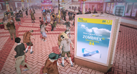 Dead rising 2 zombrex ad outside of peep hole (2)