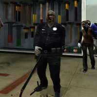 Dead rising zombie killed with lead pipe thrown