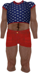Dead rising Blue T-shirt with White Stars and Red Shorts
