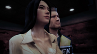 Rebecca and Chuck in the elevator