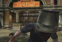 Dead Rising bucket on zombie
