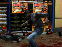 Dead rising zombies falling on oil bucket
