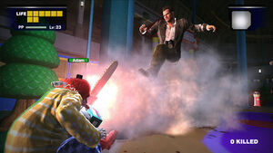 Dead rising adam the clown blowing fire destructoid com