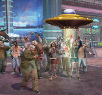 Dead rising Giant Spaceship Toy attracting zombies