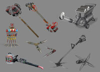 Dead rising 2 Off the Record concept art from main menu art page COMBO WEAPONS