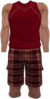 Dead rising Red and White Sleeveless Shirt with Red and Black Checkered Shorts