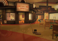 Dead rising 2 off the record floor buffer in front of cheesecake mania