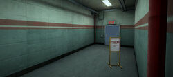 Dead rising warehouse c square sign at exit to food court