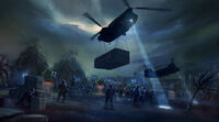 Dead rising 2 Off the Record concept art from main menu art page HARVESTERS helicopter dropping items