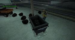 Dead rising garbage bag inside utility cart warehouse c