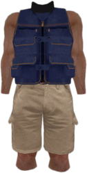 Dead rising Blue Vest with Tan Shorts