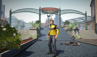 Dead rising off the record SCARE ZOMBIE ZOMBIES Fortune Park fountain and sign