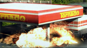 Dead rising gas station explosion close up