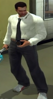 Cantonbury's Suit with White Dress Shirt, Black Tie, and Grey Dress Pants